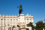 Royal Palace, Plaza de Oriente equestrian statue King Felipe IV designed by Velazquez, Madrid, Spain