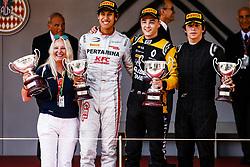 May 25, 2018 - Montecarlo, Monaco - 01 Artem MARKELOV from Russia of RUSSIAN TIME, 03 Sean GELAEL from India of PERTAMINA PREMA THEODORE RACING and 09 Roberto MEHRI from Spain of MP MOTORSPORT during the Monaco Formula One Grand Prix  at Monaco on 23th of May, 2018 in Montecarlo, Monaco. (Credit Image: © Xavier Bonilla/NurPhoto via ZUMA Press)