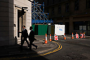 Cones and No Entry sign in closed to traffic street and roadworks in the City of London.