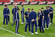 Scotland players inspecting the pitch during the U21 UEFA EURO first qualifying round match between England and Scotland at the Riverside Stadium, Middlesbrough, England on 6 October 2017. Photo by Paul Thompson.