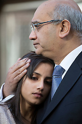 © licensed to London News Pictures. London, UK. 15/12/2012. The daughter Lisha (left) of nurse Jacinta Saldanha talking being comforted by Keith Vaz (right) outside Westminster Cathedral in London after a memorial service held for Jacinta Saldanha who committed suicide. Photo credit: Tolga Akmen/LNP