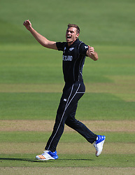 New Zealand's Tim Southee celebrates after taking the wicket of Bangladesh's Soumya Sarkar during the ICC Champions Trophy, Group A match at Sophia Gardens, Cardiff.