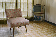 Antique chair and TV in old setting, with Wasp, Anderson TX