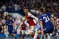 Aaron Ramsey of Arsenal watches the ball closely. Premier league match, Chelsea v Arsenal at Stamford Bridge in London on Sunday 17th September 2017.<br /> pic by Kieran Clarke, Andrew Orchard sports photography.