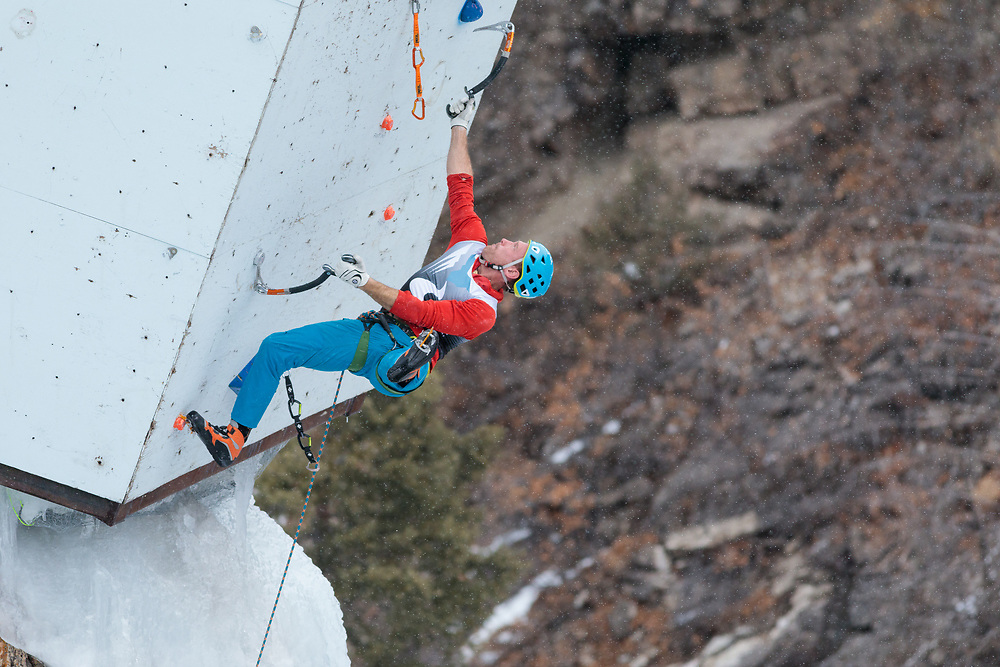 Jesse Huey climbing during the Ouray Ice Festival mixed climbing competition