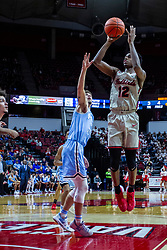 NORMAL, IL - February 08: Antonio Reeves shoots for 2 from the edge of the lane with his defender woefully out of position during a college basketball game between the ISU Redbirds and the Indiana State Sycamores on February 08 2020 at Redbird Arena in Normal, IL. (Photo by Alan Look)