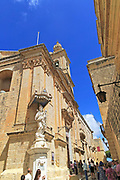 Madonna and baby Jesus Christ statue, Carmelite church and priory in medieval city of Mdina, Malta