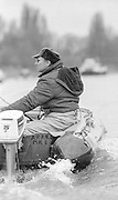 """London. United Kingdom.  Mike SPRACKLEN, coaching from a """"Rib""""1987 Pre Fixture, Varsity Boat Race. National Squad vs Cambridge University BC on the Championship Course Mortlake to Putney. River Thames.  Saturday 21.03.1987<br /> <br /> [Mandatory Credit: Peter SPURRIER/Intersport images]<br /> <br /> National Squad, Bow, Terry Dillon, John MAXEY, John GARRETT, Martin CROSS, Andy HOLMES, Steve REDGRAVE, Adam CLIFT, Richard STANHOPE and Cox, Pat SWEENEY 19870321 Pre Boat Race fixture, National Squard vs Cambridge UBC, London UK"""