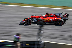 November 12, 2017 - Sao Paulo, Sao Paulo, Brazil - Nov, 2017 - Sao Paulo, Sao Paulo, Brazil - German driver SEBASTIAN VETTEL/Scuderia Ferrari won the Brazilian Formula One Grand Prix on Sunday at the Interlagos autodromo in Sao Paulo. VALTTERI BOTTAS/Mercedes AMG was second place, followed by filipinos KIMI RAIKKONEN/Scuderia Ferrari. (Credit Image: © Marcelo Chello via ZUMA Wire)