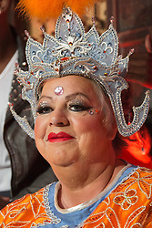 "© Licensed to London News Pictures. 09/09/2013. London, England. Pictured: Jo Brand. Comedienne Jo Brand will make her pantomime debut alongside Britain's Got Talent dance act ""Flawless"" and actor Matthew Kelly in Aladdin at the New Wimbledon Theatre. The show will run from 6 December 2013 to 12 January 2014. With Jo Brand, Matthew Kelly as Widow Twankey, Oliver Thornton as Aladdin, David Bedella as Abanazar and street dancers ""Flawless"" as the Peking Dance Force. Photo credit: Bettina Strenske/LNP"