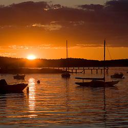 Sunset as seen from Little Deer Isle, Maine.  Penobscot Bay.