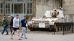 © Licensed to London News Pictures. 23/06/2016. EU Referendum battle meets it climax as voters go to the polls. Polling station signs next to a Self Propelled Gun Howitzer at the Royal Arsenal in Woolwich. Credit: Rob Powell/LNP