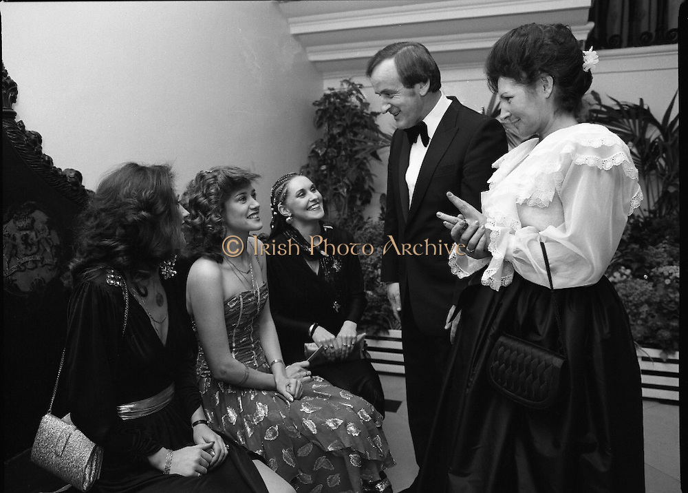"""Reception For """"Sheba"""" Ireland's Eurovision Entrants..1981..01.04.1981..04.01.1981..1st April 1981..The Minister for Posts and Telegraphs,Mr Albert Reynolds TD,held a reception in the State Apartments,Dublin Castle on the occasion of the Grand Prix of the Eurovision Song Contest 1981. The contest was being held in Ireland after Johnny Logans win at the Hague in 1980. Ireland's representatives this year are """"Sheba"""" singing  """"Horoscopes""""...The Minister,Albert Reynolds,and his wife Kathleen are pictured with """"Sheba"""" at the Eurovision Reception in Dublin Castle.""""Sheba"""" is made up of Frances Campbell, Irene McCoubrey (Maxi) and Marion Fossett."""