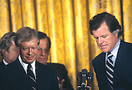 President Jimmy Carter and Senator Edward Kennedy at an event in the East Room of the White House in June 1979<br /> Photograph by Dennis Brack<br /> bb45