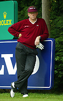 Photograph: Scott Heavey<br />Volvo PGA Championship At Wentworth Club. 23/05/2003.<br />Colin Montgomerie takes a break on the 18th tee.