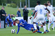 Manu Emmanuel Gyabuaa of Italy (8) tackles Liel Abada of Israel (9) during the UEFA European Under 17 Championship 2018 match between Israel and Italy at St George's Park National Football Centre, Burton-Upon-Trent, United Kingdom on 10 May 2018. Picture by Mick Haynes.