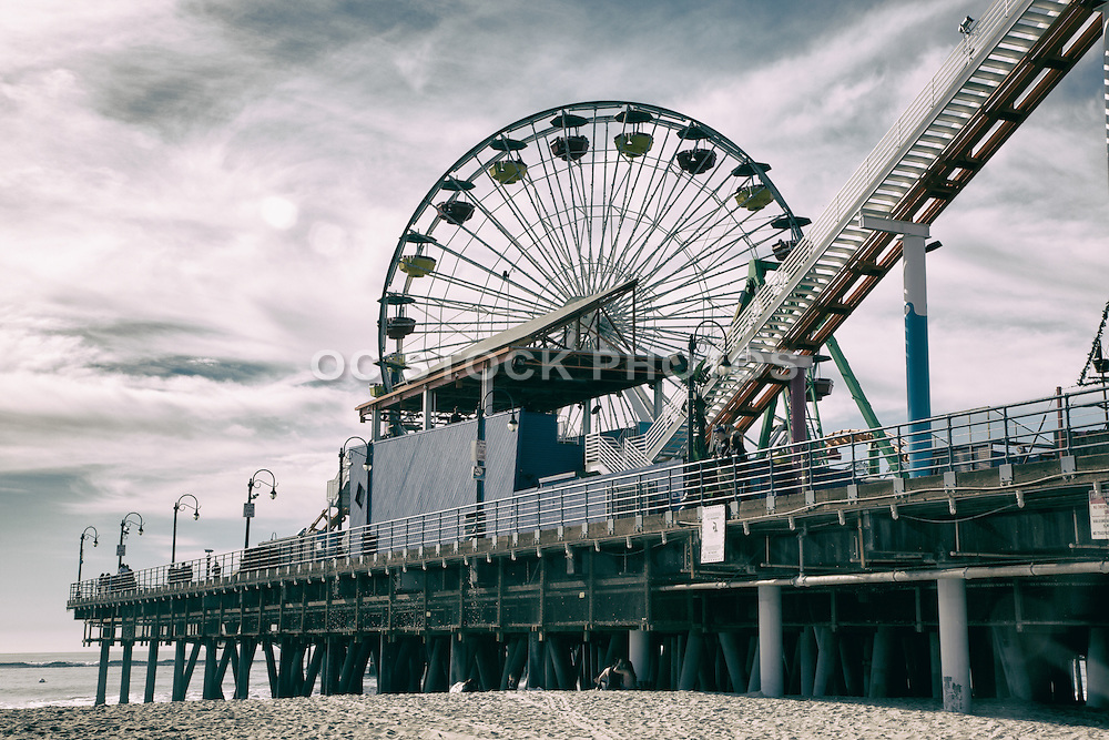 Santa Monica Pier With Ferris Wheel and Roller Coaster Black and White