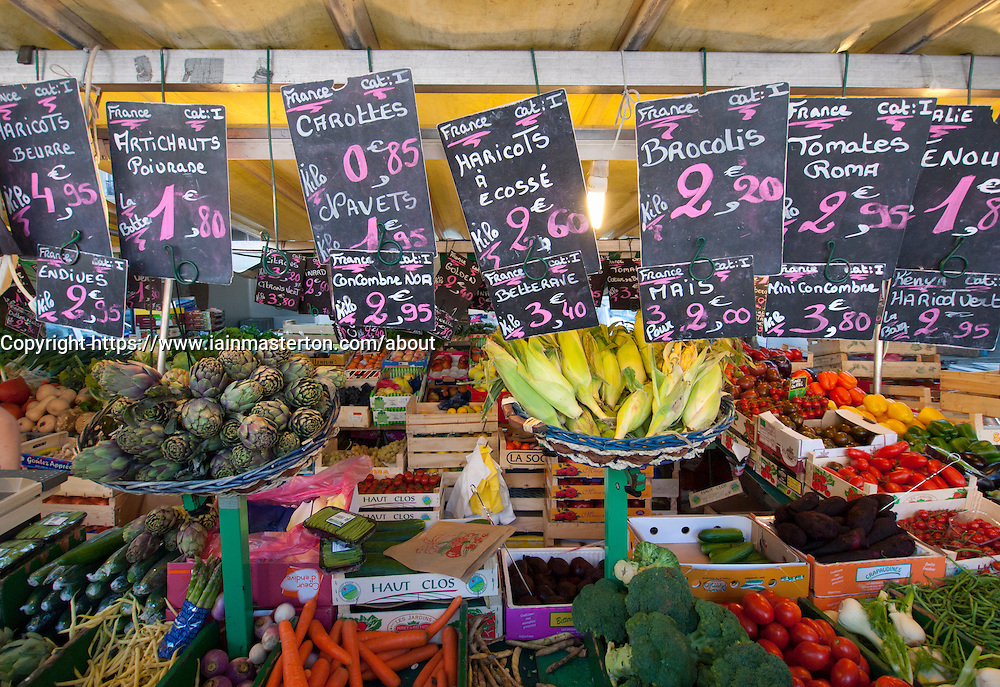 Fruit and vegetable stall at traditional market at Bastille in Paris France