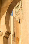 Low angle view of architectural detail inside Hassan II Mosque in Casablanca, Morocco