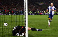 Photo: Paul Thomas.<br /> Espanyol v Sevilla. UEFA Cup Final. 16/05/2007.<br /> <br /> Luis Garcia of Espanyol has his penalty saved by Andres Palop.
