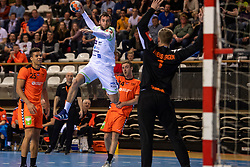 11-04-2019 NED: Netherlands - Slovenia, Almere<br /> Third match 2020 men European Championship Qualifiers in Topsportcentrum in Almere. Slovenia win 26-27 / Ephrahim Jerry  #25 of Netherlands, Matic Verdinek #4 of Slovenia, Bart Ravensbergen #1 of Netherlands