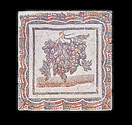 3rd century Roman mosaic panel of black and white grapes. From Thysdrus (El Jem), Tunisia.  The Bardo Museum, Tunis, Tunisia. Black background .<br /> <br /> If you prefer to buy from our ALAMY PHOTO LIBRARY  Collection visit : https://www.alamy.com/portfolio/paul-williams-funkystock/roman-mosaic.html - Type -   Bardo    - into the LOWER SEARCH WITHIN GALLERY box. Refine search by adding background colour, place, museum etc<br /> <br /> Visit our ROMAN MOSAIC PHOTO COLLECTIONS for more photos to download  as wall art prints https://funkystock.photoshelter.com/gallery-collection/Roman-Mosaics-Art-Pictures-Images/C0000LcfNel7FpLI