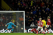 Etienne Capoue of Watford (2nd R) scores his team's third goal. The Emirates FA Cup, 3rd round match, Watford v Bristol City  at Vicarage Road in Watford, London on Saturday 6th January 2018.<br /> pic by Steffan Bowen, Andrew Orchard sports photography.