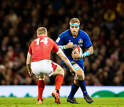 Niccolo Cannone of Italy lines up Johnny McNicholl of Wales<br /> <br /> Photographer Simon King/Replay Images<br /> <br /> Six Nations Round 1 - Wales v Italy - Saturday 1st February 2020 - Principality Stadium - Cardiff<br /> <br /> World Copyright © Replay Images . All rights reserved. info@replayimages.co.uk - http://replayimages.co.uk