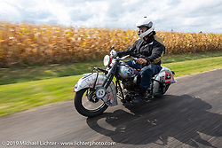 Mark Hill riding his 1940 Indian 4-cylinder in the Cross Country Chase motorcycle endurance run from Sault Sainte Marie, MI to Key West, FL (for vintage bikes from 1930-1948). Stage 3 from Milwaukee, WI to Urbana, IL. USA. Sunday, September 8, 2019. Photography ©2019 Michael Lichter.