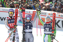 27.01.2018, Lenzerheide, SUI, FIS Weltcup Ski Alpin, Lenzerheide, Riesenslalom, Damen, Flower Zeremonie, im Bild Viktoria Rebensburg (GER),Tessa Worley (FRA),Meta Hrovat (SLO) // Viktoria Rebensburg of Germany Tessa Worley of France.Meta Hrovat of Slovenia during the Flowers ceremony for the ladie's Giant Slalom of FIS Ski Alpine World Cup in Lenzerheide, Austria on 2018/01/27. EXPA Pictures © 2018, PhotoCredit: EXPA/ Sammy Minkoff<br /> <br /> *****ATTENTION - OUT of GER*****