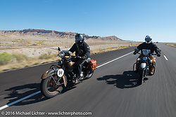 Steven Rinker riding his 1936 Indian Chief during stage 11 (289 miles) of the Motorcycle Cannonball Cross-Country Endurance Run, which on this day ran from Grand Junction, CO to Springville, UT., USA. Tuesday, September 16, 2014.  Photography ©2014 Michael Lichter.