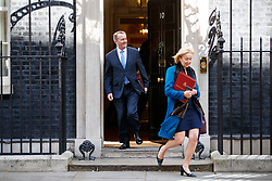 © Licensed to London News Pictures. 18/04/2017. London, UK. International Trade Secretary LIAM FOX and Environment Secretary ANDREA LEADSOM leave Downing Street after Prime Minister Theresa May called for an early election on 18 April 2017.  Photo credit: Tolga Akmen/LNP