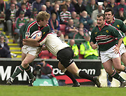 © Peter Spurrier / Sportsbeat images<br />email images@sportsbeat.co.uk - Tel +44 208 876 8611<br />Photo Peter Spurrier 02/05/2003<br />2003 - Zurich Premiership Rugby - Leicester Tigers v London Irish<br />Will Skinner tackles by declan Danaher
