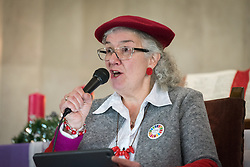 8 December 2019, Madrid, Spain: Joy Kennedy from Canadian Fast for Climate speaks during a session following an ecumenical prayer service held in the Iglesia de Jesús in central Madrid during COP25.