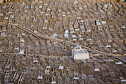 An aerial view of a Muslim cemetery in Tarim, Hadhramawt, Yemen.