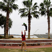 DJ Henry, of Beaufort, tosses his son Arthur Henry, 2, in the air while playing around at Henry C. Chambers Waterfront Park on December 26, 2013.