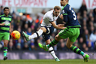 Harry Kane of Tottenham Hotspur tries a volley at goal.  Barclays Premier league match, Tottenham Hotspur v Swansea city at White Hart Lane in London on Sunday 28th February 2016.<br /> pic by John Patrick Fletcher, Andrew Orchard sports photography.