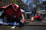 Bulgarian Roma migrants living in a bender campsite in the forest. Roma squat. Bois des Vincennes, edge of Paris, France<br /><br />Eastern european Roma migrants, often from Romania and Bulgaria, searching for better opportunities, they move near to western european cities. They typically are poor and live in squats, here around the periphery of Paris, in the suburbs 'banlieu' where they typically build ramshackle homes from recycled wooden panels and corrugated iron, or sometimes benders made from branches covered in tarpaulins. They live in woods and forest, industrial estates or derelict buildings. Life is especially difficult for them in the harsh conditions of winter and rain. Most of these camps get destroyed by police and Roma are eventually evicted, some deported back home or moving on to build another home. They often survive by recycling metal and electronic goods, selling recycled clothes and objects they find in trash bins, or through begging or playing music on the city streets or inside metro stations. Paris, France