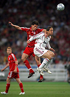 Photo: Paul Thomas.<br /> AC Milan v Liverpool. UEFA Champions League Final. 23/05/2007.<br /> <br /> Andre Pirlo (R) of Milano beats past Xabi Alonso.