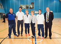 Rt Hon Nicola Sturgeon, First Minister of Scotland and internationalists from Oriam's sporting partners officially open the £33m Heriot-Watt University Edinburgh facility. Pic with