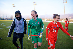 ZENICA, BOSNIA AND HERZEGOVINA - Tuesday, November 28, 2017: Wales' Georgia Evans, goalkeeper Laura O'Sullivan and Hayley Ladd celebrate after the 1-0 victory over Bosnia and Herzegovina during the FIFA Women's World Cup 2019 Qualifying Round Group 1 match between Bosnia and Herzegovina and Wales at the FF BH Football Training Centre. (Pic by David Rawcliffe/Propaganda)