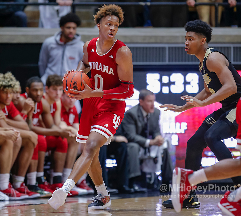 WEST LAFAYETTE, IN - JANUARY 19: Romeo Langford #0 of the Indiana Hoosiers holds the ball during the game against the Purdue Boilermakers at Mackey Arena on January 19, 2019 in West Lafayette, Indiana. (Photo by Michael Hickey/Getty Images) *** Local Caption *** Romeo Langford