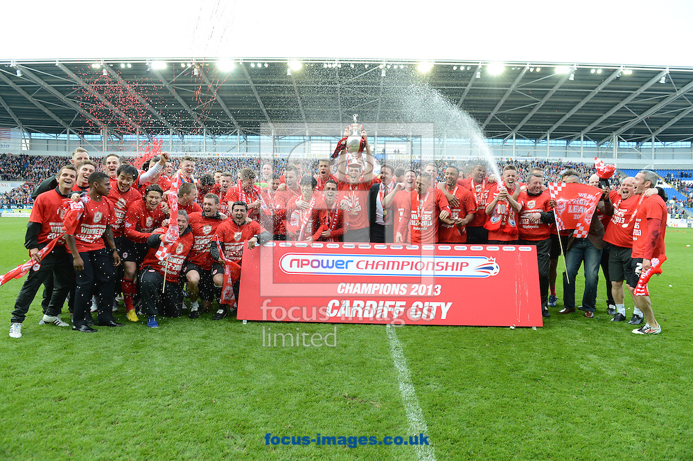 Picture by Mike  Griffiths/Focus Images Ltd +44 7766 223933.27/04/2013.Cardiff City players presented with the trophy at the Cardiff City Stadium, Cardiff.