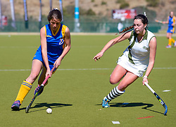 Antoinette de Vries of Waterkloof and Bailey Dovey of Diocesan School for Girls during day one of the FNB Private Wealth Super 12 Hockey Tournament held at Oranje Meisieskool in Bloemfontein, South Africa on the 6th August 2016<br /> <br /> Photo by:   Frikkie Kapp / Real Time Images