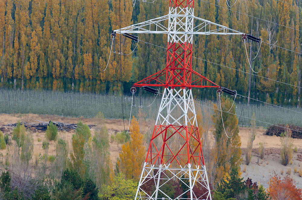 Power transmission tower, October, Columbia River Basin, Washington, USA