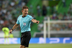 August 15, 2017 - Lisbon, Portugal - Referee Felix Brych from Germany gestures during the UEFA Champions League play-offs first leg football match between Sporting CP and FC Steaua Bucuresti at the Alvalade stadium in Lisbon, Portugal on August 15, 2017. Photo: Pedro Fiuza (Credit Image: © Pedro Fiuza via ZUMA Wire)