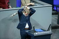 04 NOV 2020, BERLIN/GERMANY:<br /> Karsten Hilse, MdB, AfD, bindet sich umstaendlich einen Schahl um, um damit der Anforderung eines Mund-Nase-Schutzes zur Bekaempfung der Corona Pandemie nachzukommen, waehrend einer Debatte zur Klimaschutz-Politik, Plenum, Reichstagsgebaeude, Deutscher Bundestag<br /> IMAGE: 20201104-01-004<br /> KEYWORDS: Rede, Speech, Corvid-19