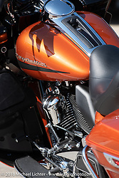 Brand new 2019 model Harley-Davidson ready for a test ride at the House of Harley-Davidson, which was one of seven local dealerships that had street parties, bands and 2019 model test rides during the Harley-Davidson 115th Anniversary Celebration event. Milwaukee, WI. USA. Thursday August 30, 2018. Photography ©2018 Michael Lichter.