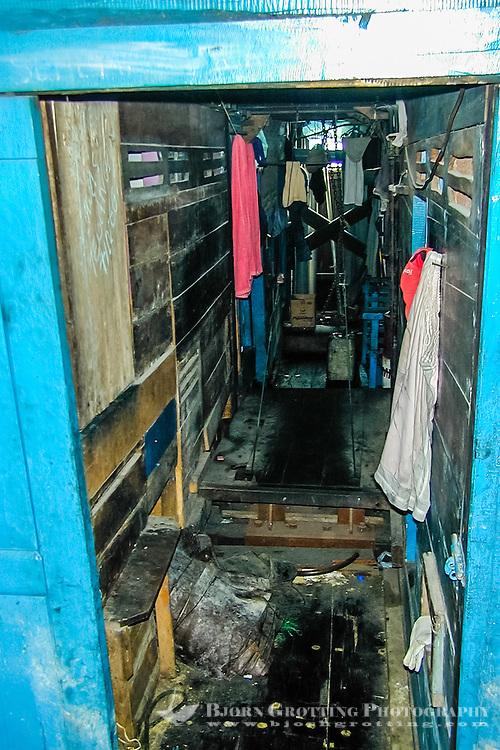Indonesia, Java, Jakarta. Bugis Pinisi, the crew cabin. Not five star accommodation. Sunda Kelapa.