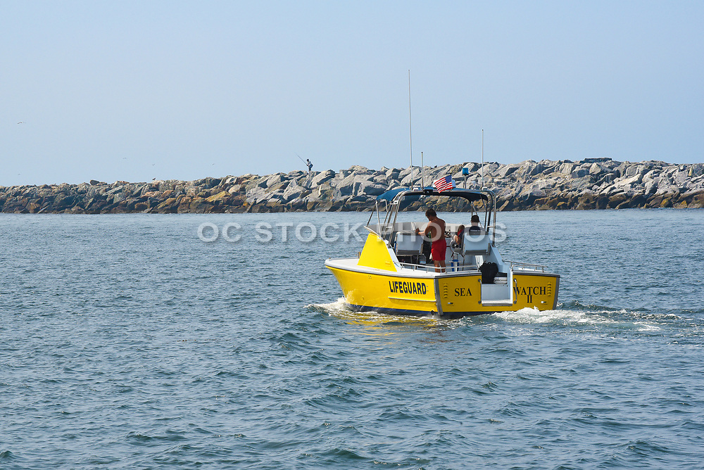 Lifeguards Taking the Sea Watch II Boat out of the Harbor